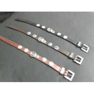 Zurich halsbanden, cognac/wit (40 cm)
