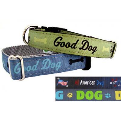 Halsband en riem Good Dog blauw M/L